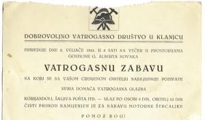 Pozivnica na zabavu 1941.