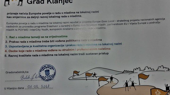Grad Klanjec potpisao je Europsku povelju o radu s mladima